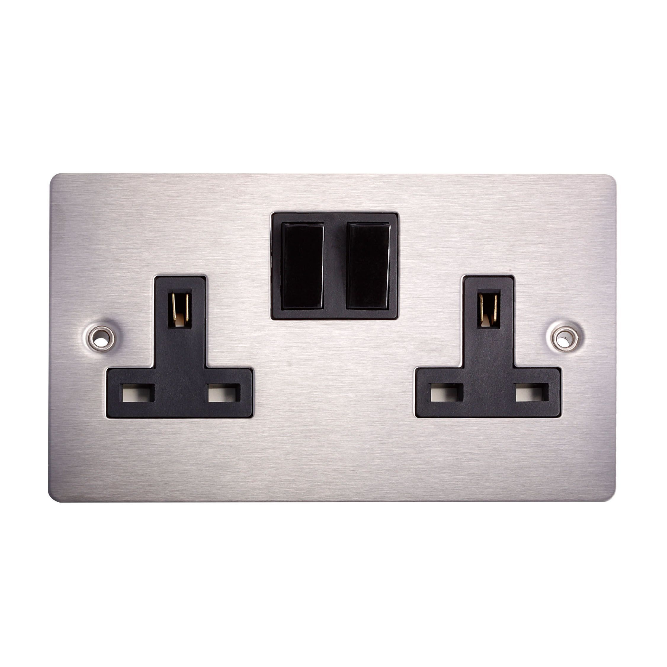 Holder 13a Brushed Steel Switched Double Socket