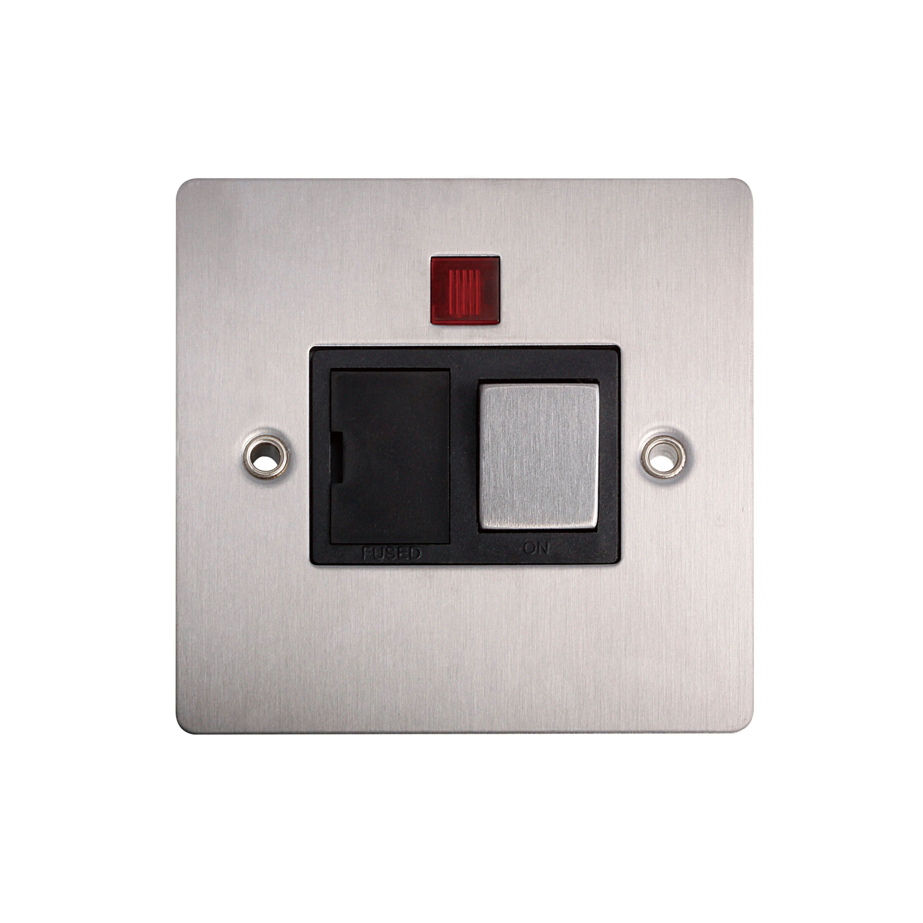 Holder 13a Single Brushed Steel Fused Spur Switch With Neon