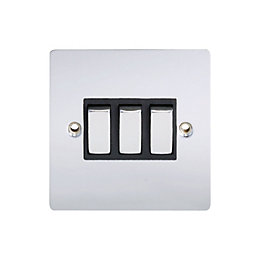 Holder 10A 2-Way Triple Polished Chrome Light Switch
