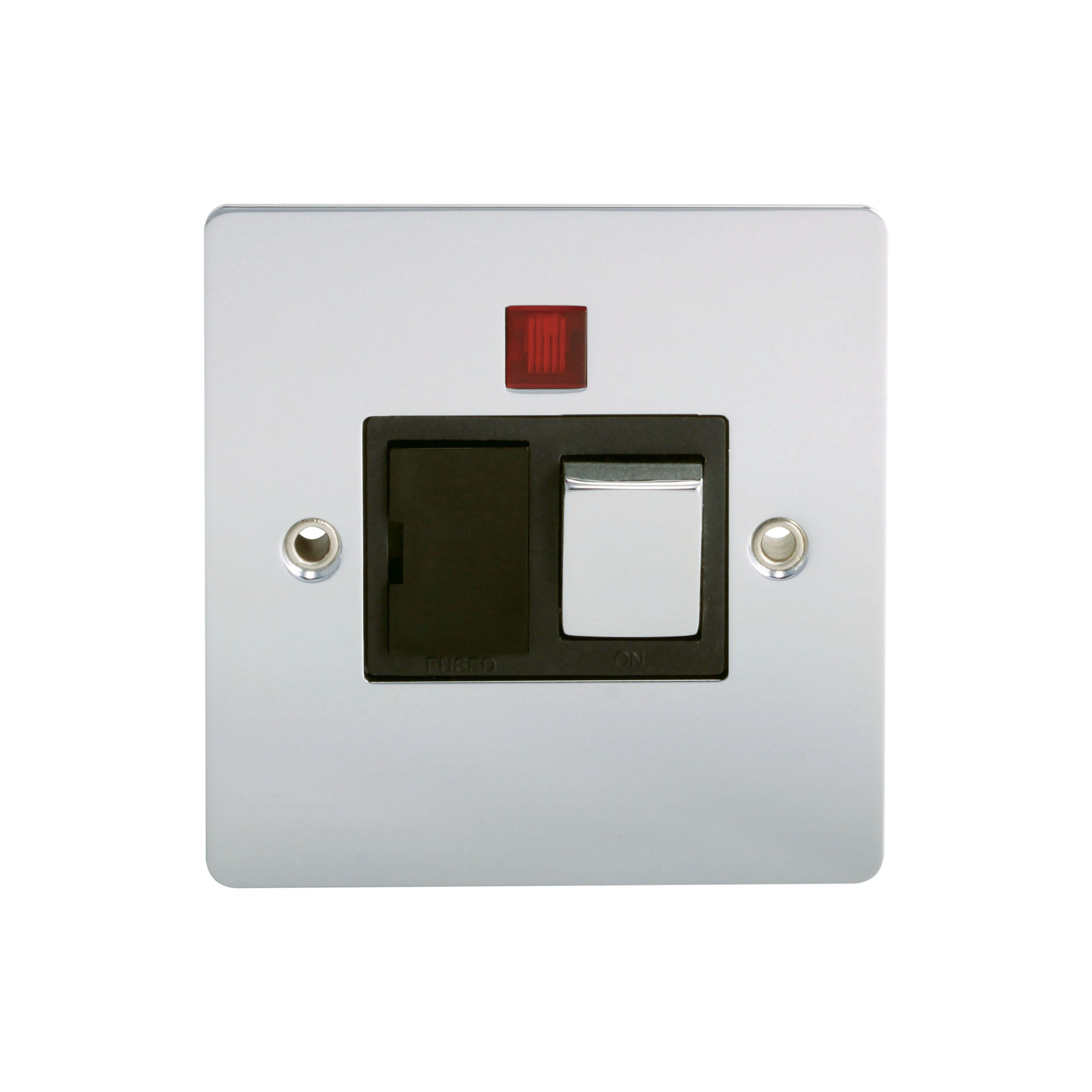 Holder 13a Single Polished Chrome Fused Spur Switch With Neon