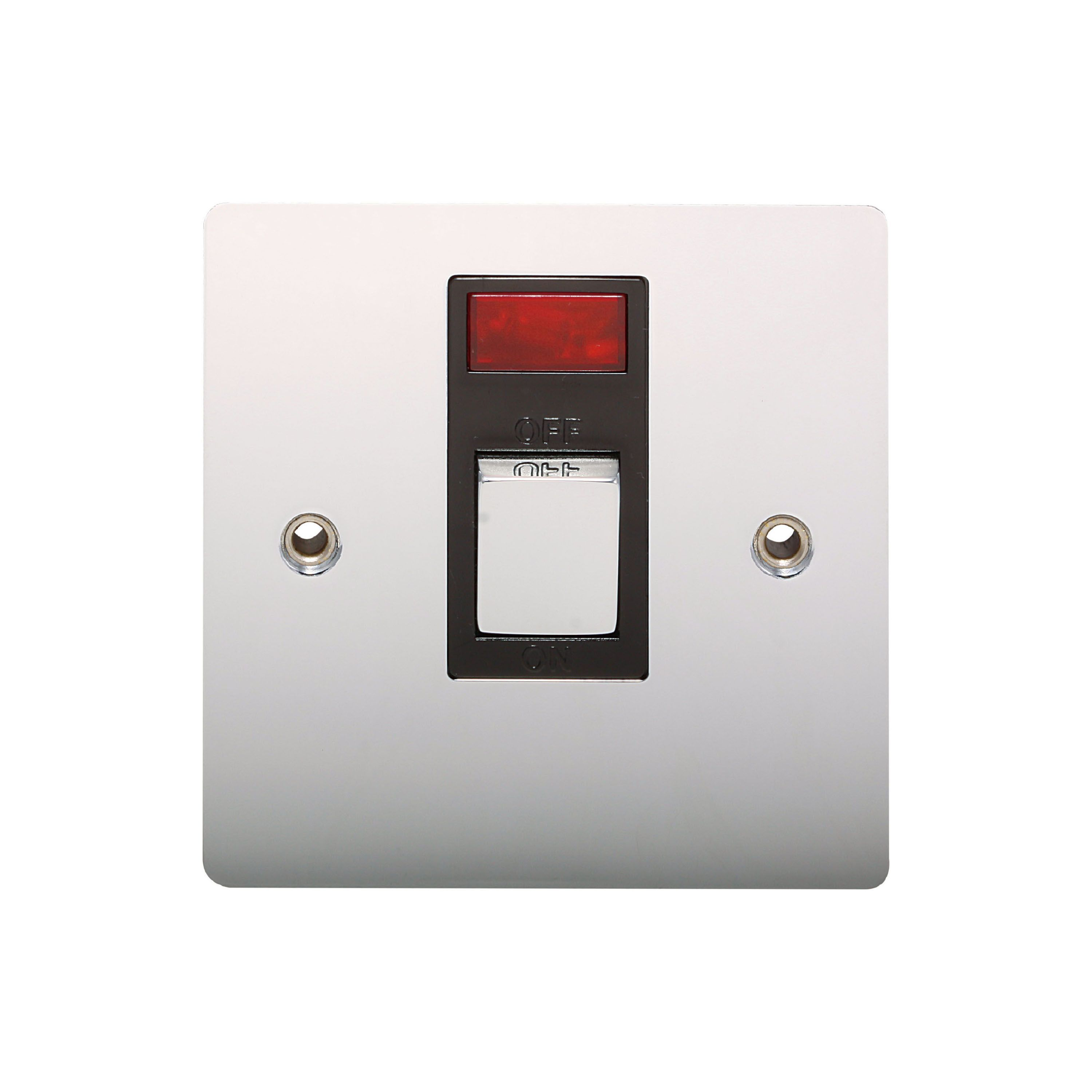 Holder 20a Single Polished Chrome Switch With Neon