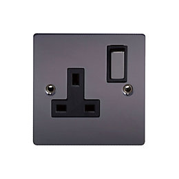 Holder 13A Black Nickel Switched Single Socket