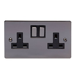 Holder 13A Black Nickel Switched Double Socket