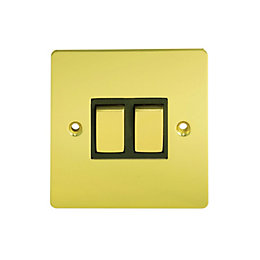 Holder 10A 2-Way Double Polished Brass Light Switch