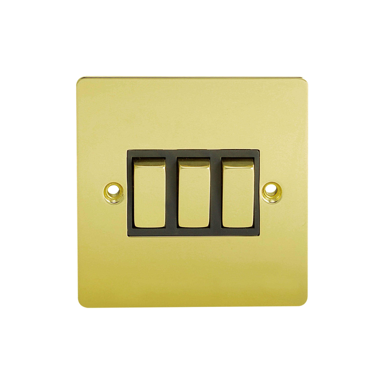 Holder 10a 2-way Triple Polished Brass Light Switch