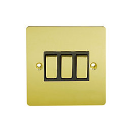 Holder 10A 2-Way Triple Polished Brass Light Switch