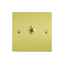 Holder 10A 2-Way Single Polished Brass Toggle Switch