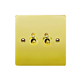Holder 10A 2-Way Double Polished Brass Toggle Switch