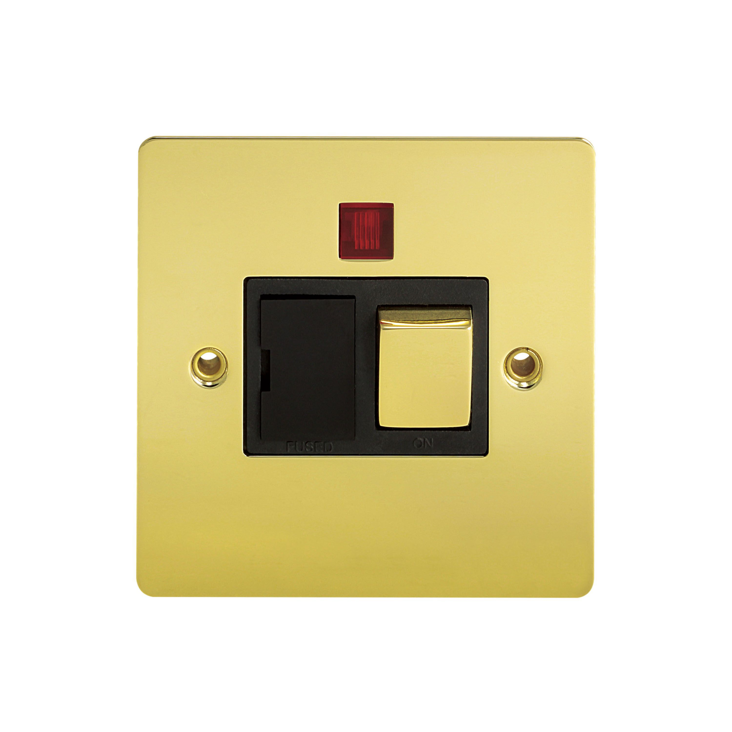 Holder 13a Single Polished Brass Fused Spur Switch With Neon