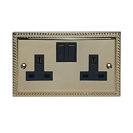Holder 13A Brass Effect Switched Socket