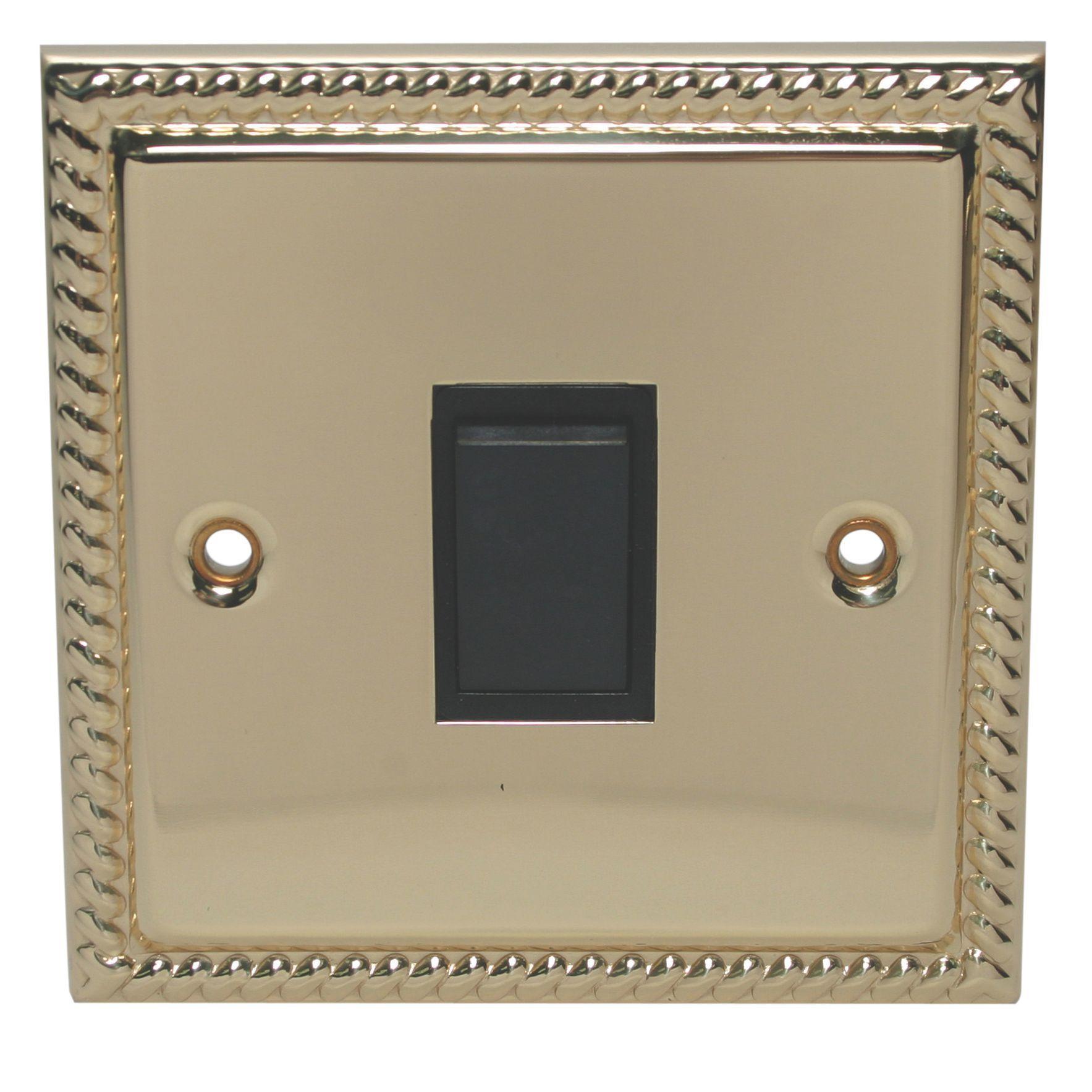 Holder 10a 2-way Single Polished Brass & Gold Effect Light Switch