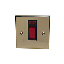 Volex 1-Gang 45A Brass Effect Cooker Switch