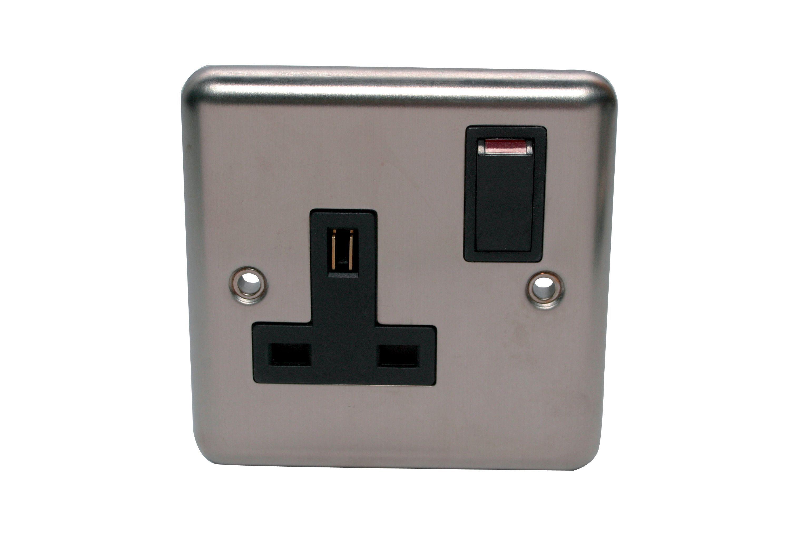 Volex 13a Polished Steel Switched Single Socket