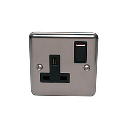 Holder 13A Stainless Steel Switched Single Socket