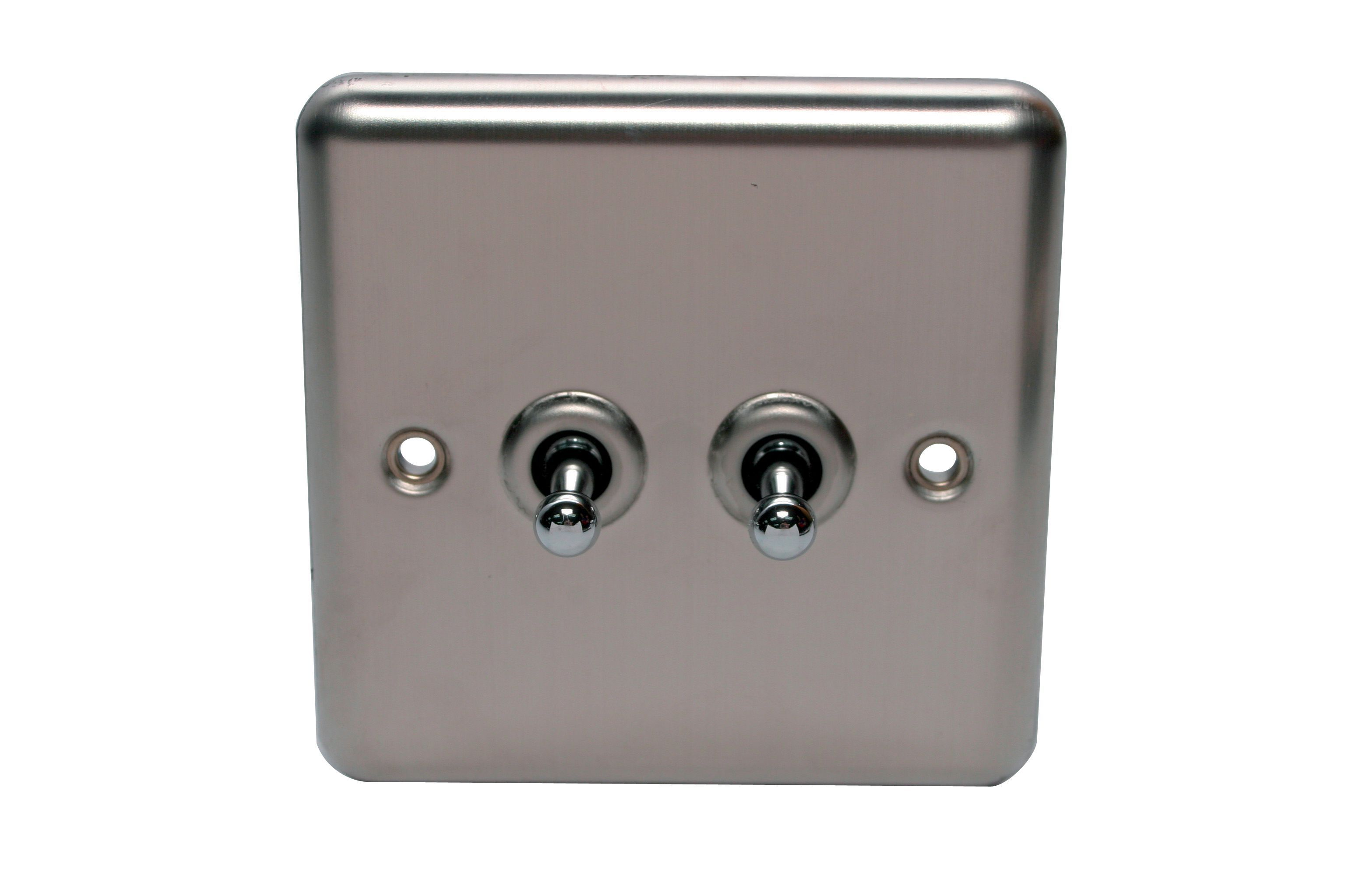 Holder 10a 2-way Single Polished Steel Toggle Switch