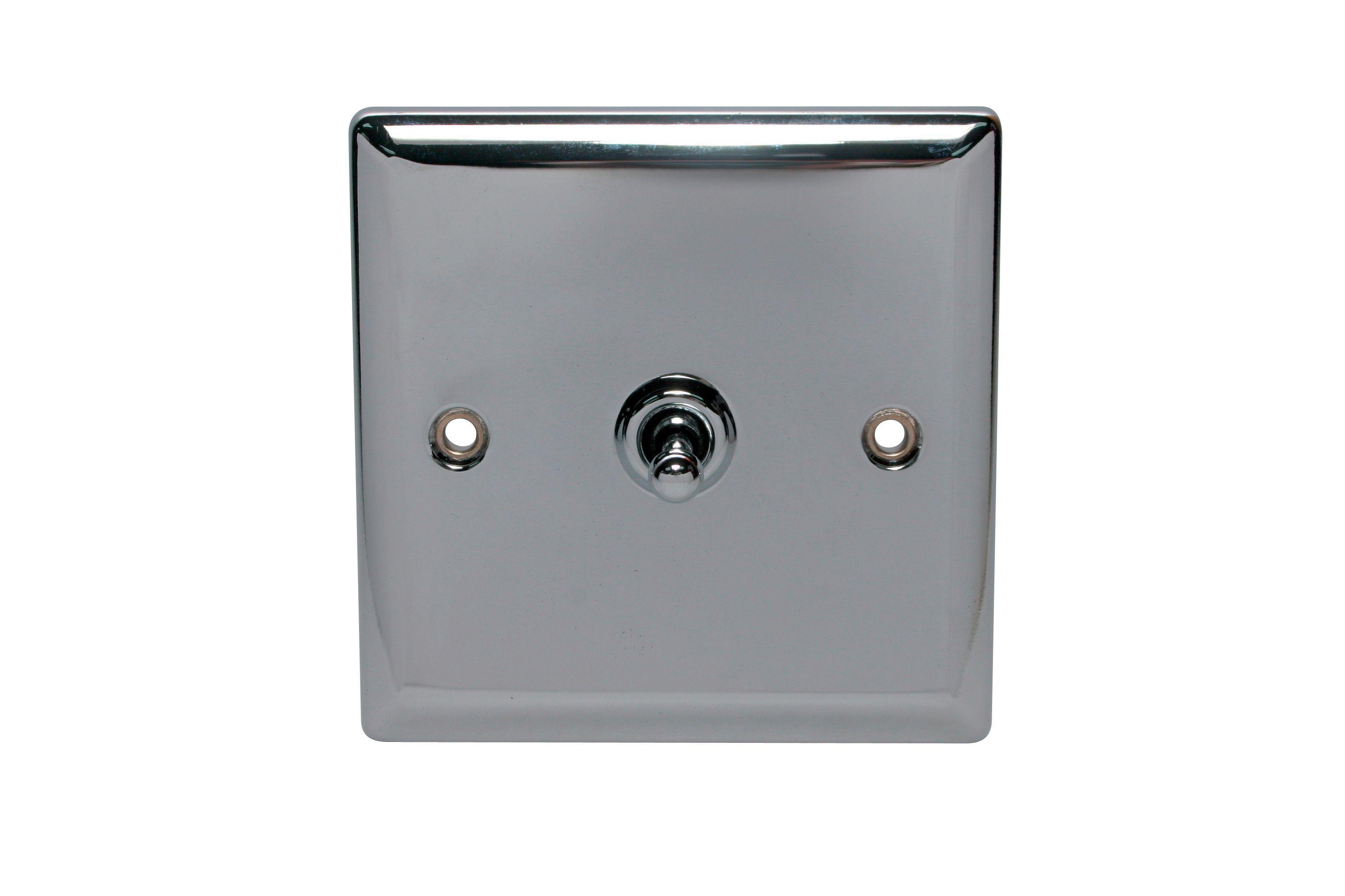 Holder 10a 2-way Single Polished Chrome Toggle Switch