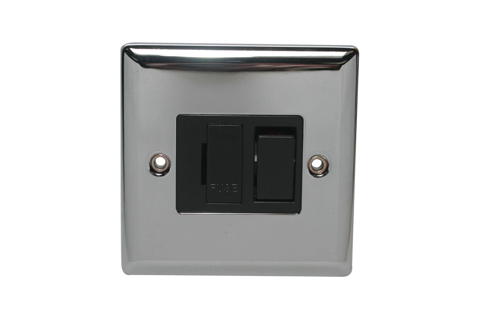 Holder 13a 1-way Single Polished Chrome Fused Switch