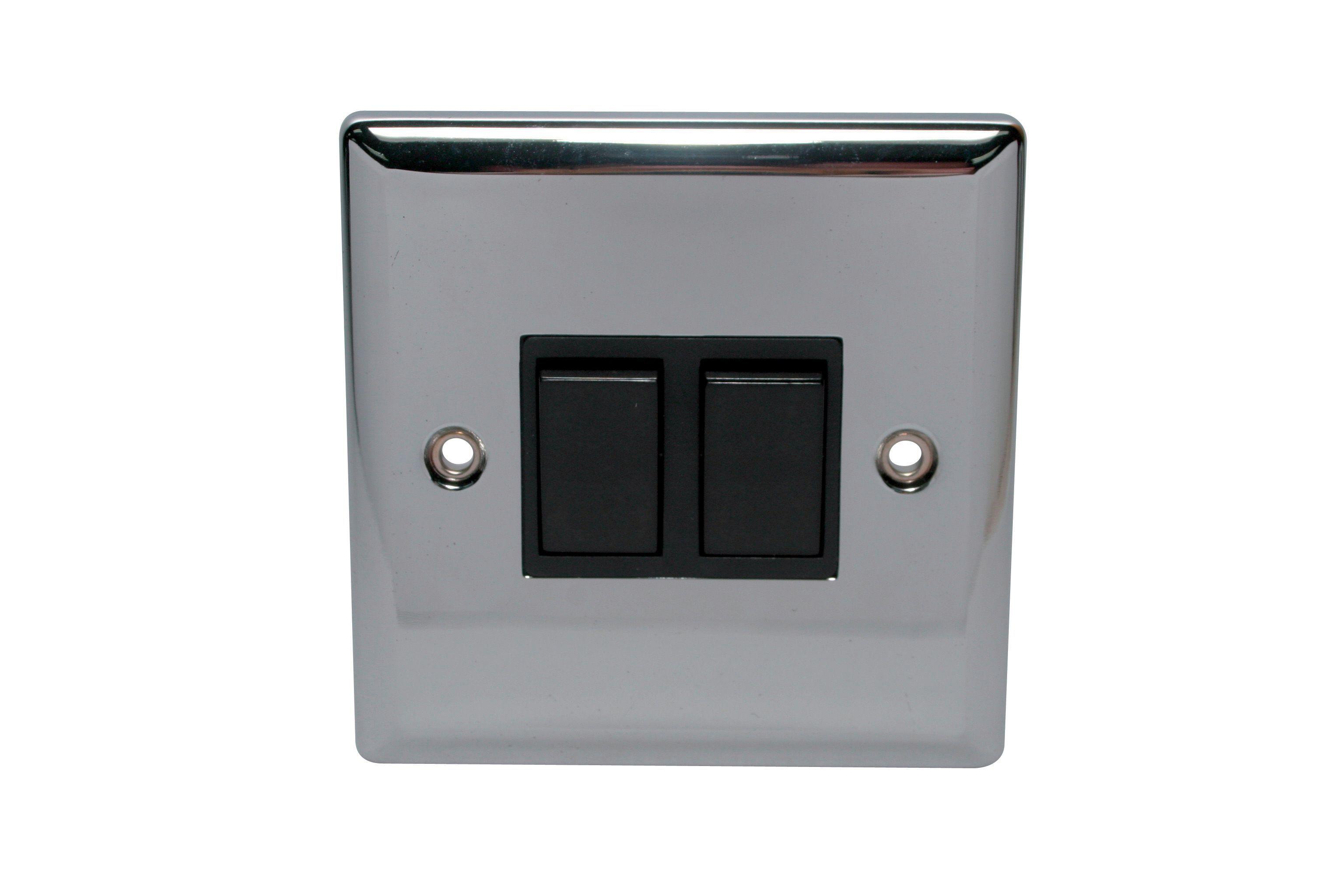 Holder 10a 2-way Double Polished Chrome Toggle Switch