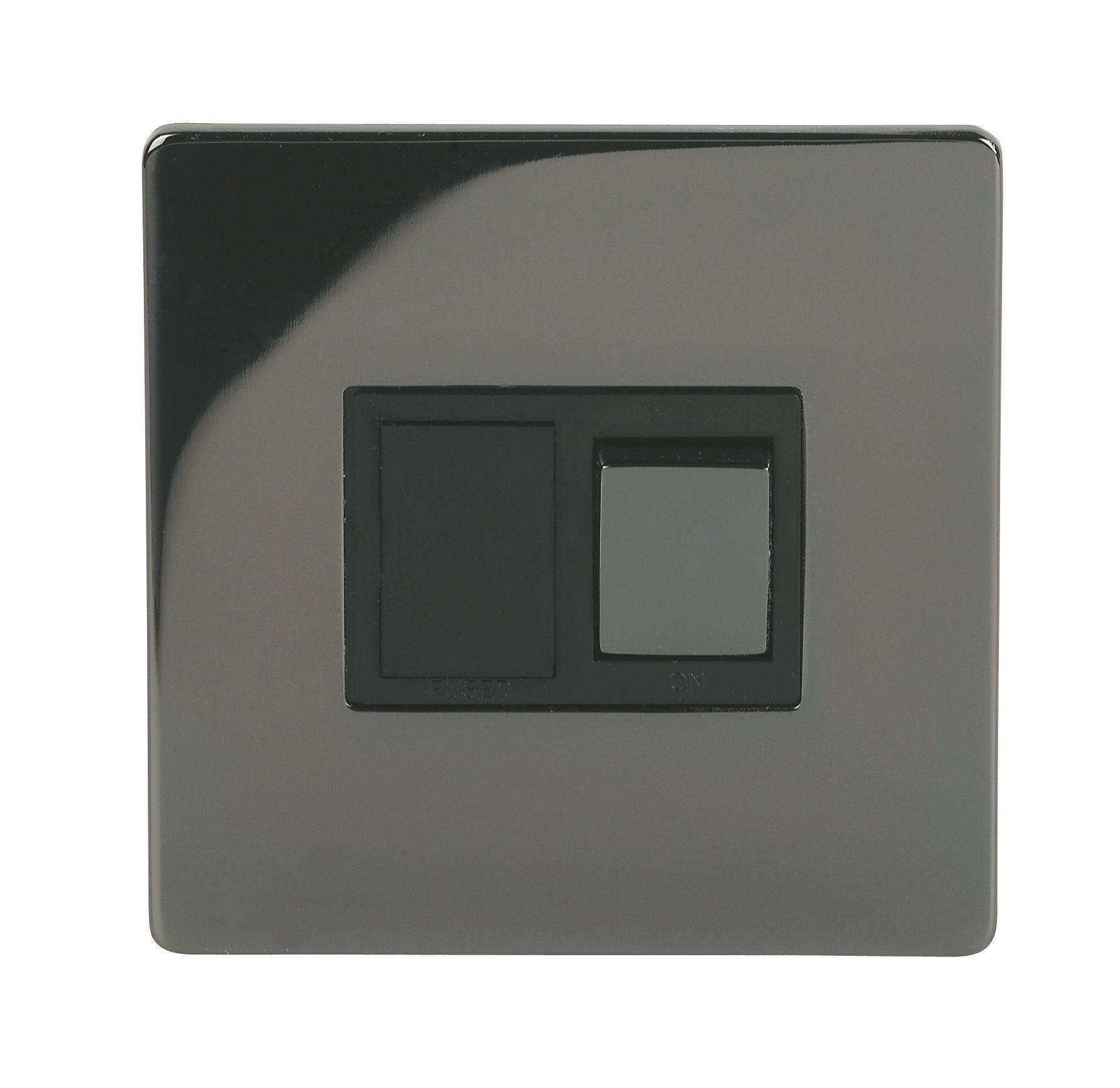 Holder 13a 1-way Single Iridium Black Fused Switch