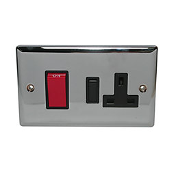 Holder 45A Double Pole Chrome Effect Cooker Switch