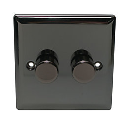 Volex 2-Way Double Black Dimmer Switch