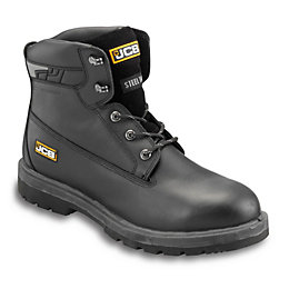 JCB Black Full Grain Leather Steel Toe Cap