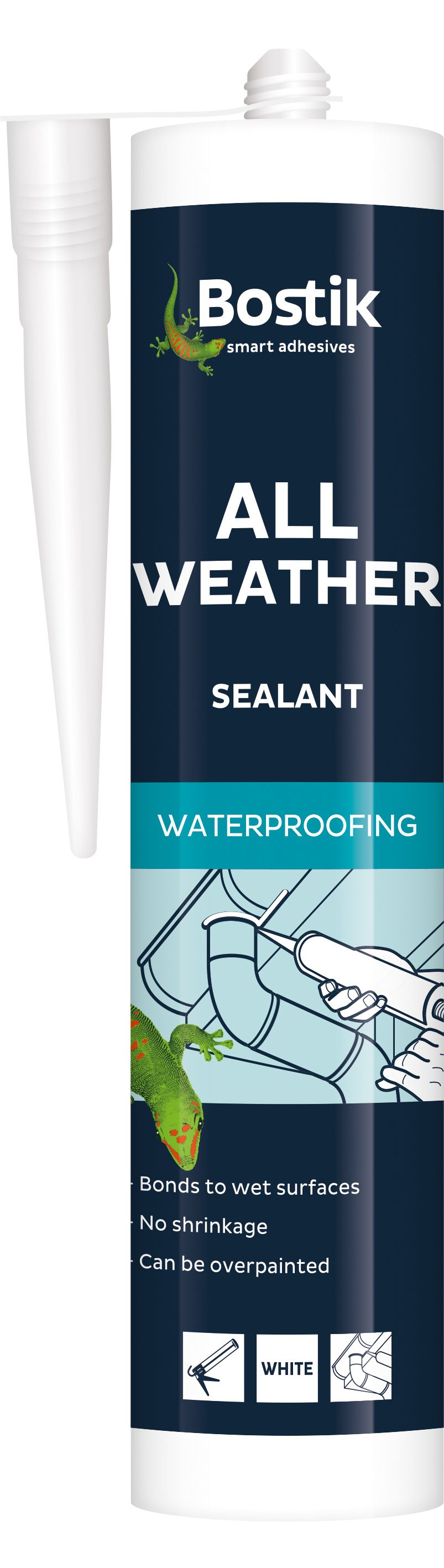 Bostik Ready To Use Weatherproof Leak Repair White Sealant 290 Ml