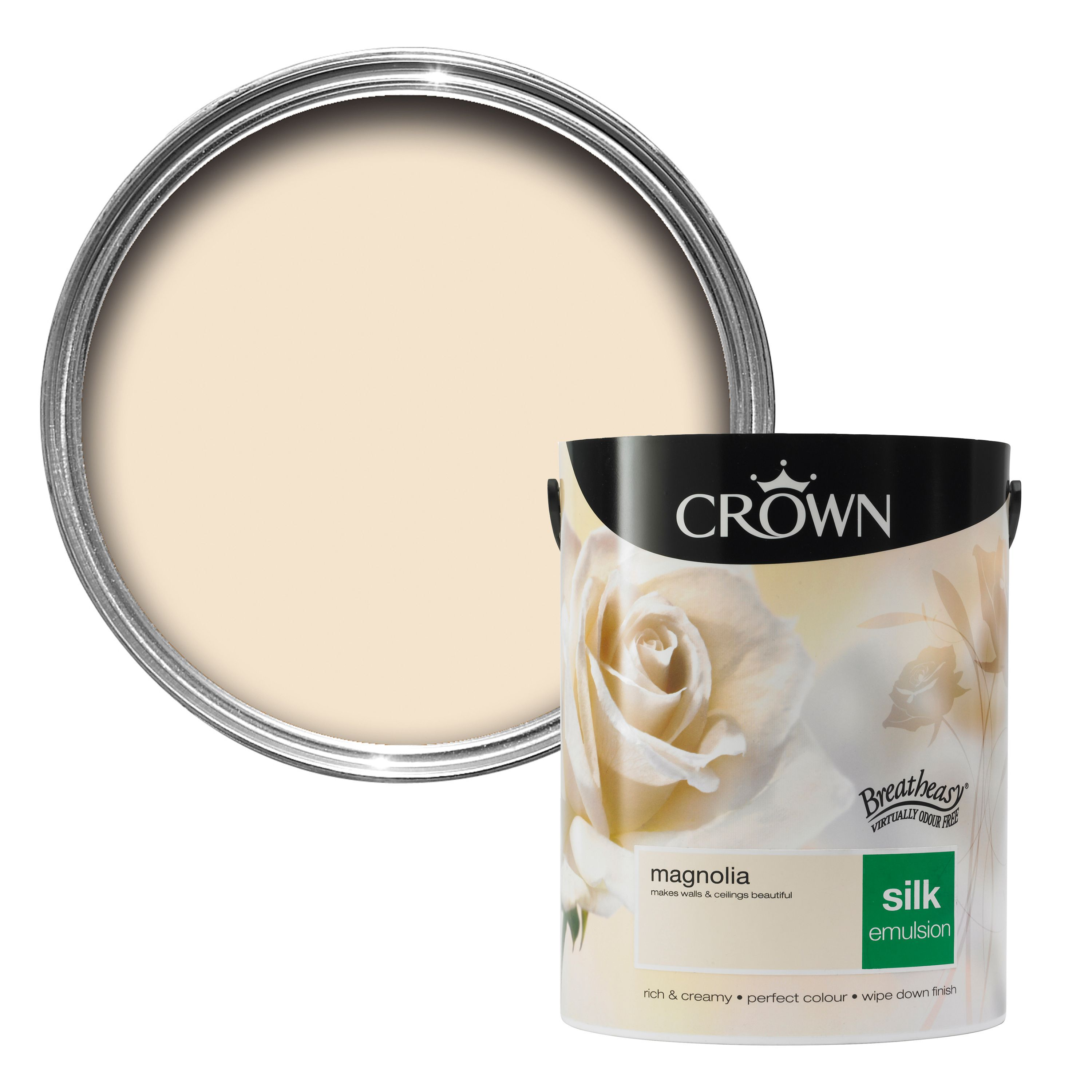 Crown Breatheasy Magnolia Silk Emulsion Paint 5l