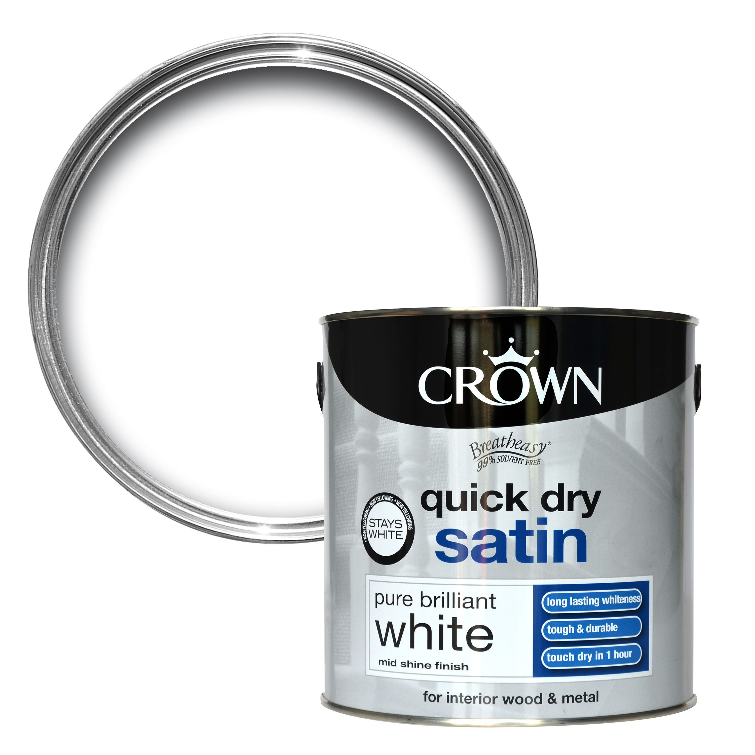 Crown Breatheasy Pure Brilliant White Satin Emulsion Paint 2.5l