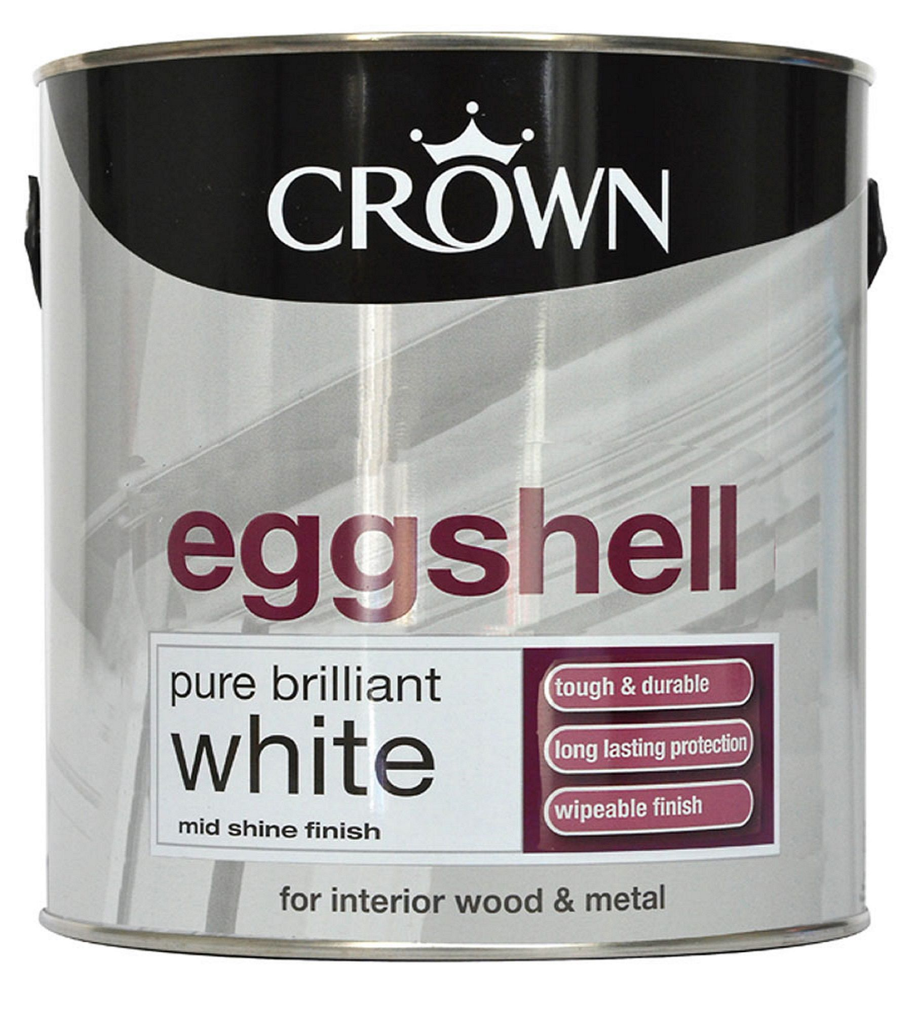 Crown Interior Pure Brilliant White Eggshell Wood & Metal Paint 2.5l