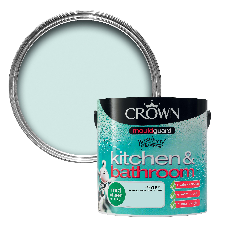 crown kitchen bathroom oxygen mid sheen emulsion paint 2 5l