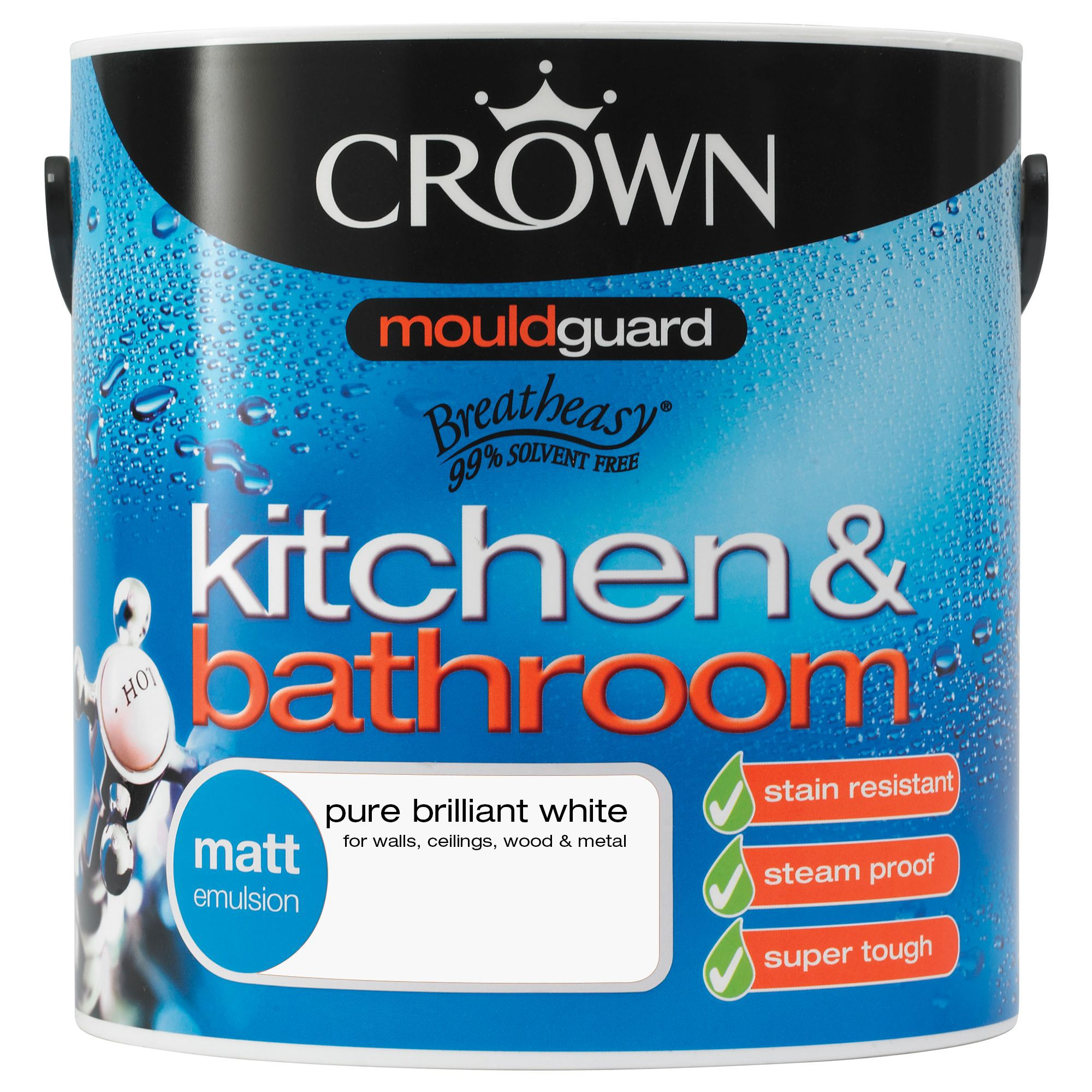 Bathroom Paint Matt: Crown Kitchen & Bathroom Pure Brilliant White Matt