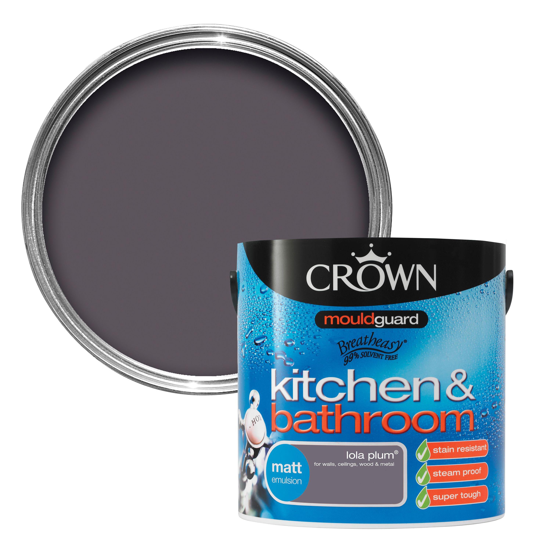 crown kitchen bathroom lola plum matt emulsion paint 2 5l