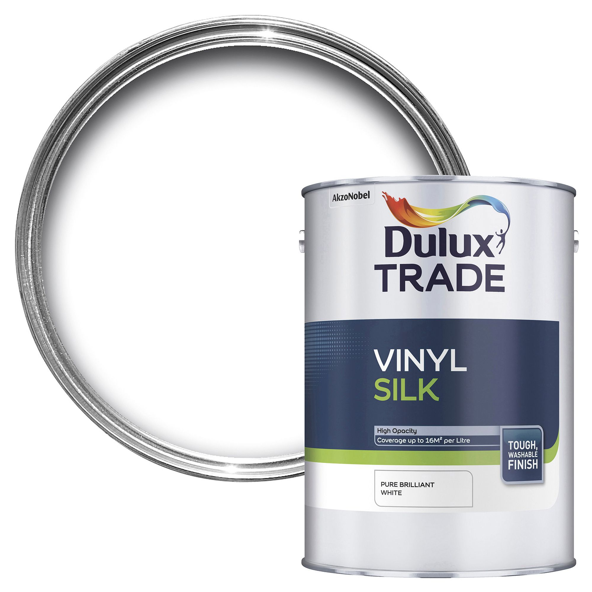 Dulux Trade Trade Pure Brilliant White Silk Emulsion Paint 5l