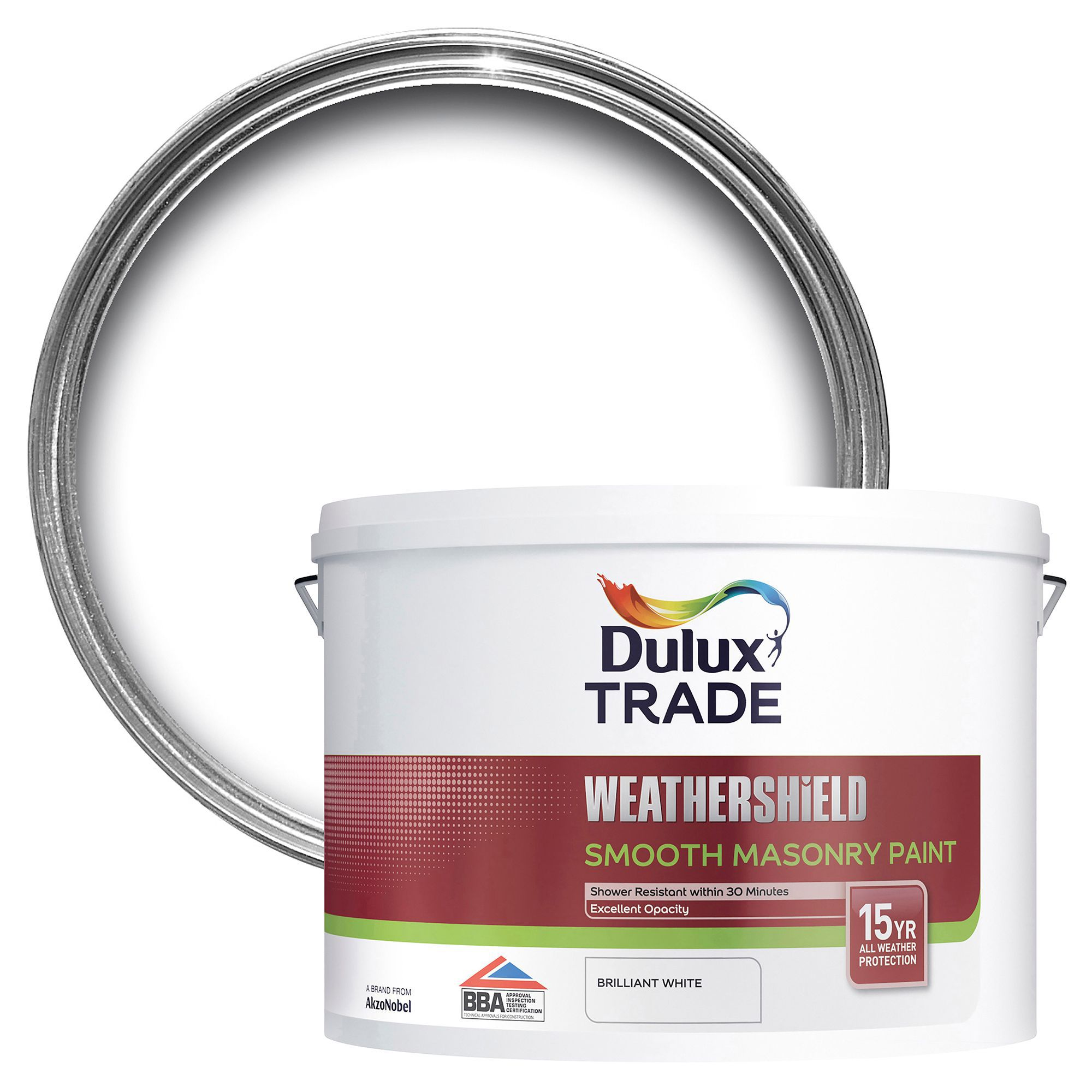 Dulux Trade Weathershield Pure Brilliant White Smooth Matt Masonry Paint 10l