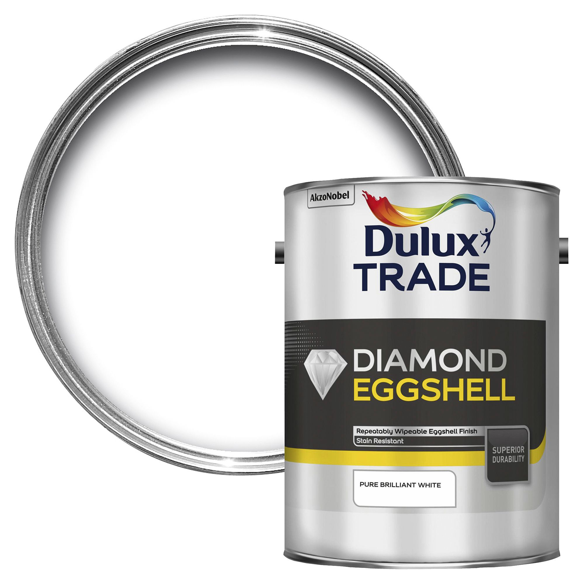 Dulux Trade Interior Pure Brilliant White Eggshell Wood & Metal Paint 5l Tin