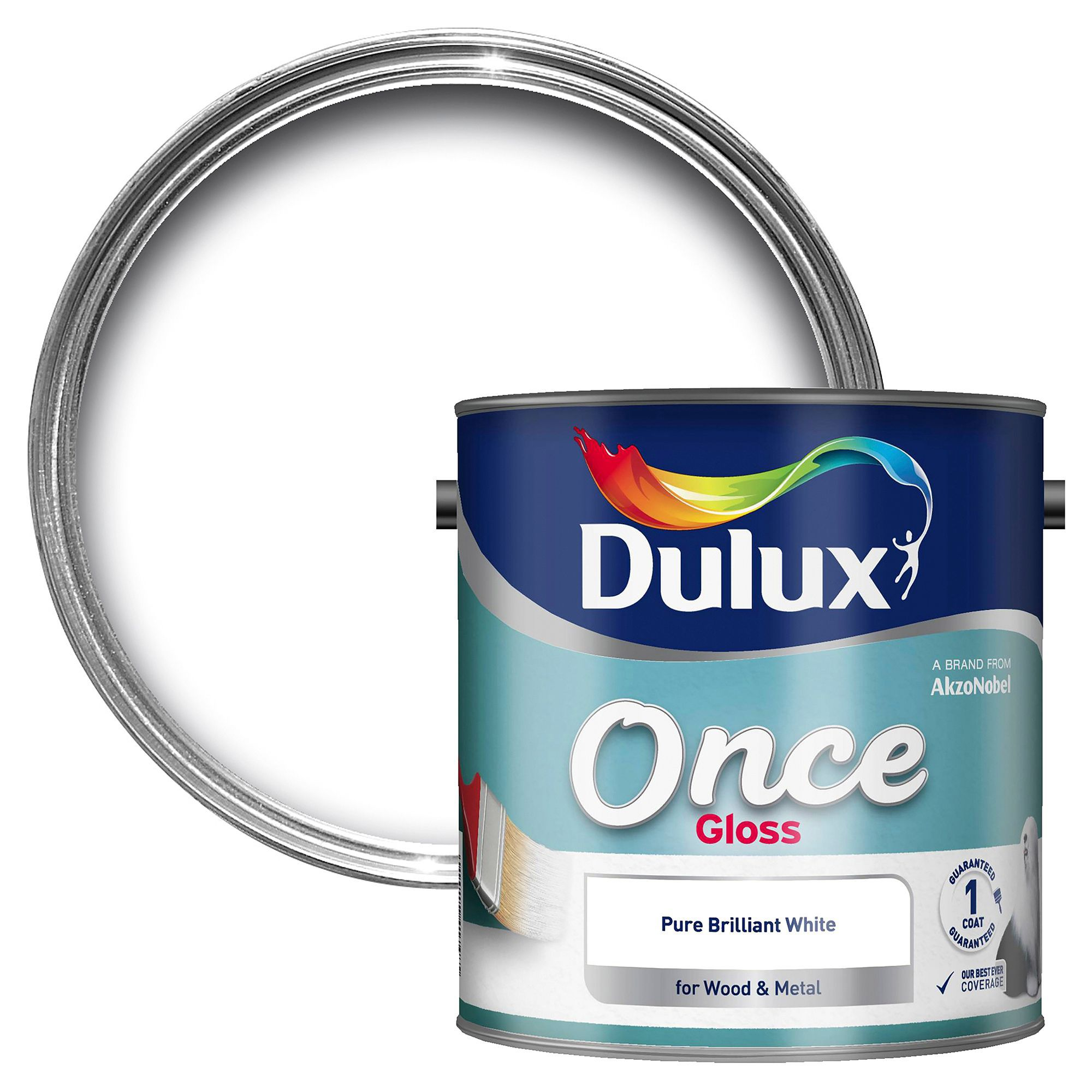 Dulux Interior Pure Brilliant White Gloss Wood & Metal Paint 2500ml