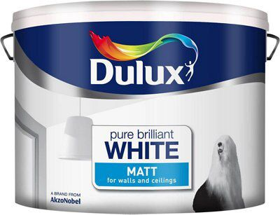 dulux pure brilliant white matt emulsion paint 10l. Black Bedroom Furniture Sets. Home Design Ideas