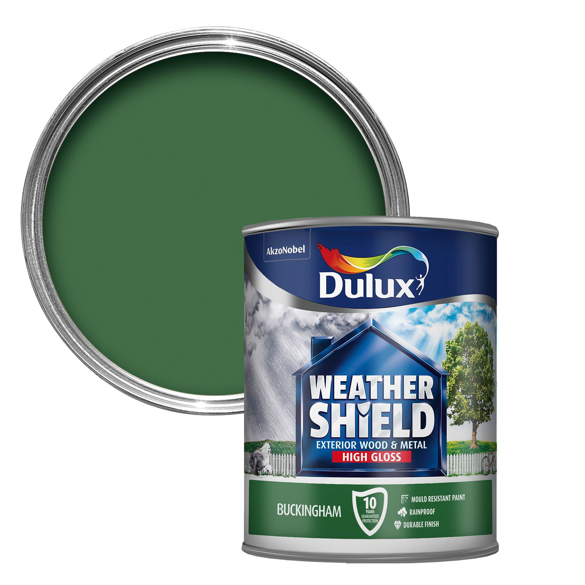 Dulux weathershield exterior buckingham green gloss wood metal paint 750ml departments diy - Exterior wood and metal paint set ...
