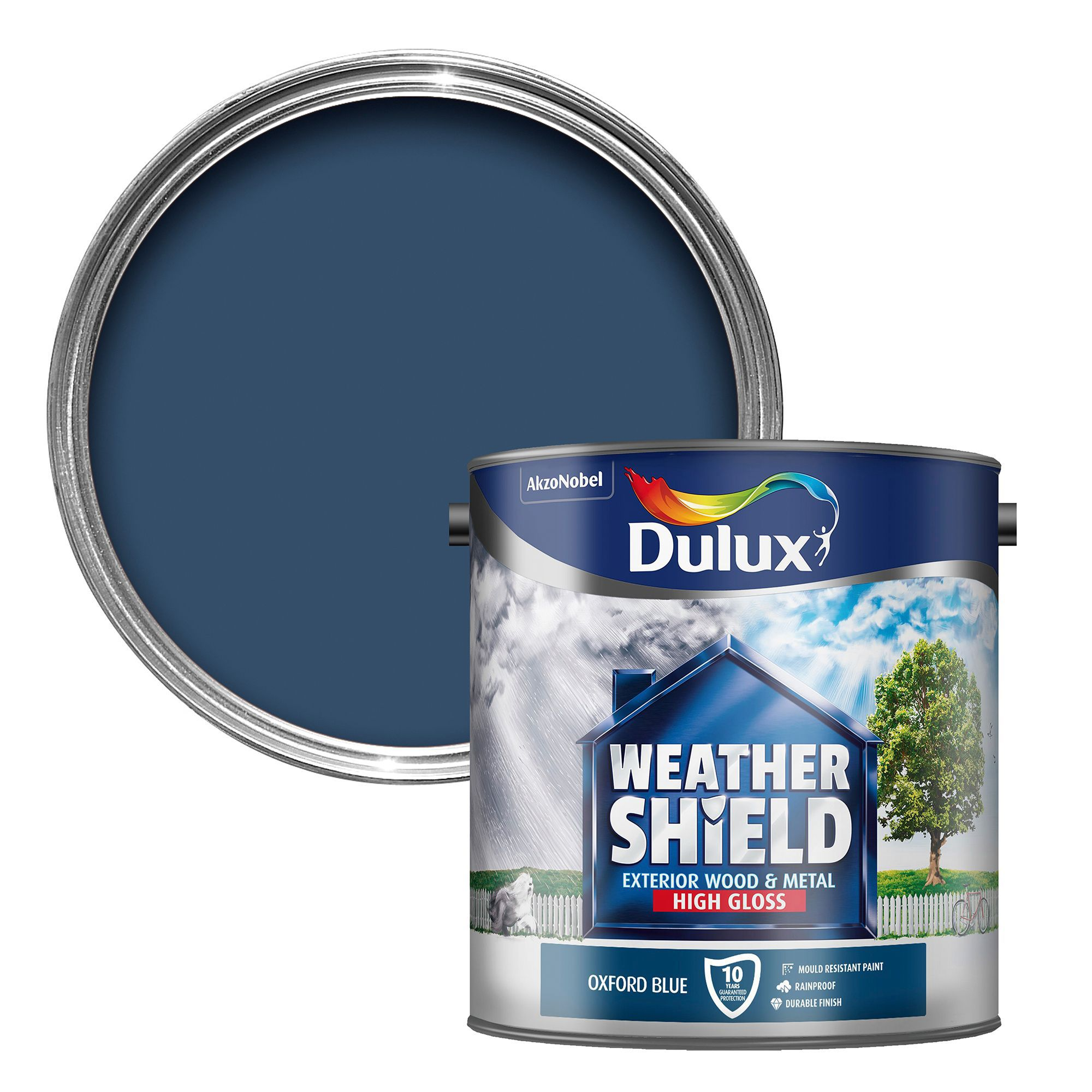 Dulux weathershield exterior oxford blue gloss wood metal paint 2 5l departments diy at b q - Dulux exterior gloss paint style ...