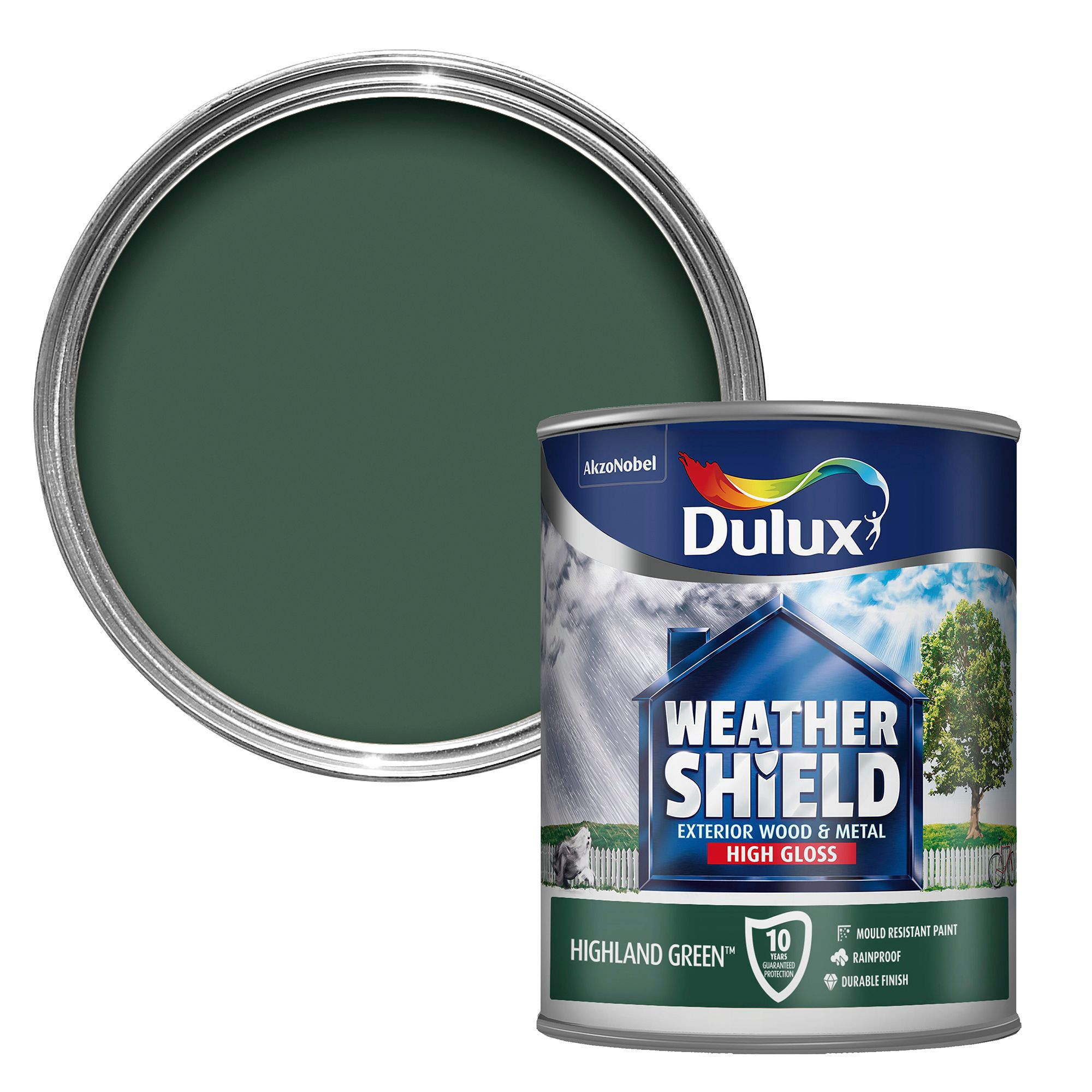dulux weathershield exterior highland green gloss wood metal paint 750ml departments diy. Black Bedroom Furniture Sets. Home Design Ideas