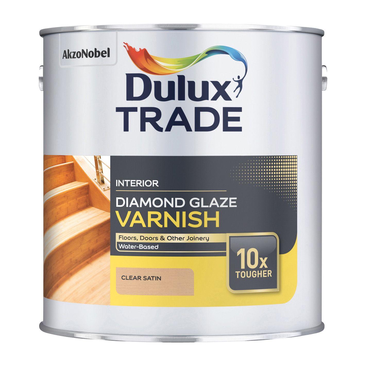 Dulux Trade Clear Satin Wood Varnish 2500ml Tin