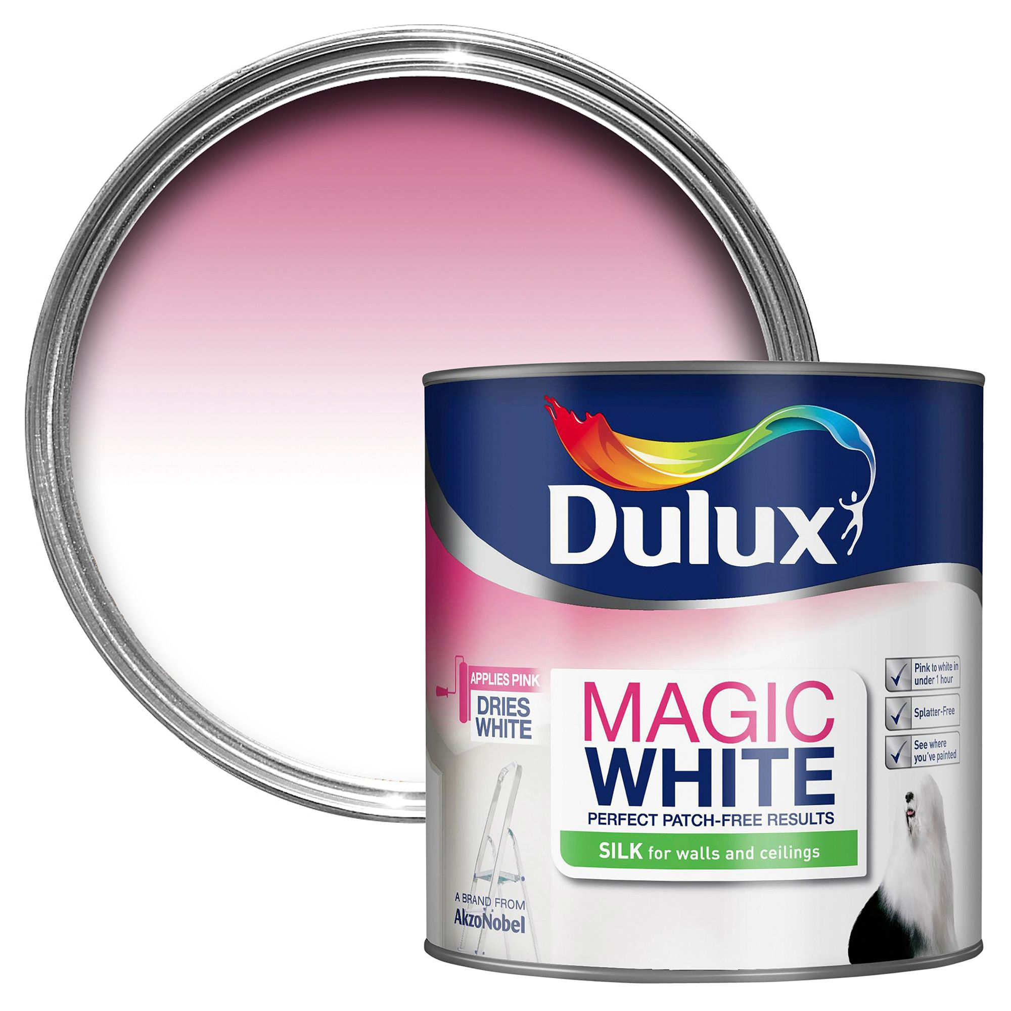 Dulux Magic Pure Brilliant White Silk Emulsion Paint 2.5l