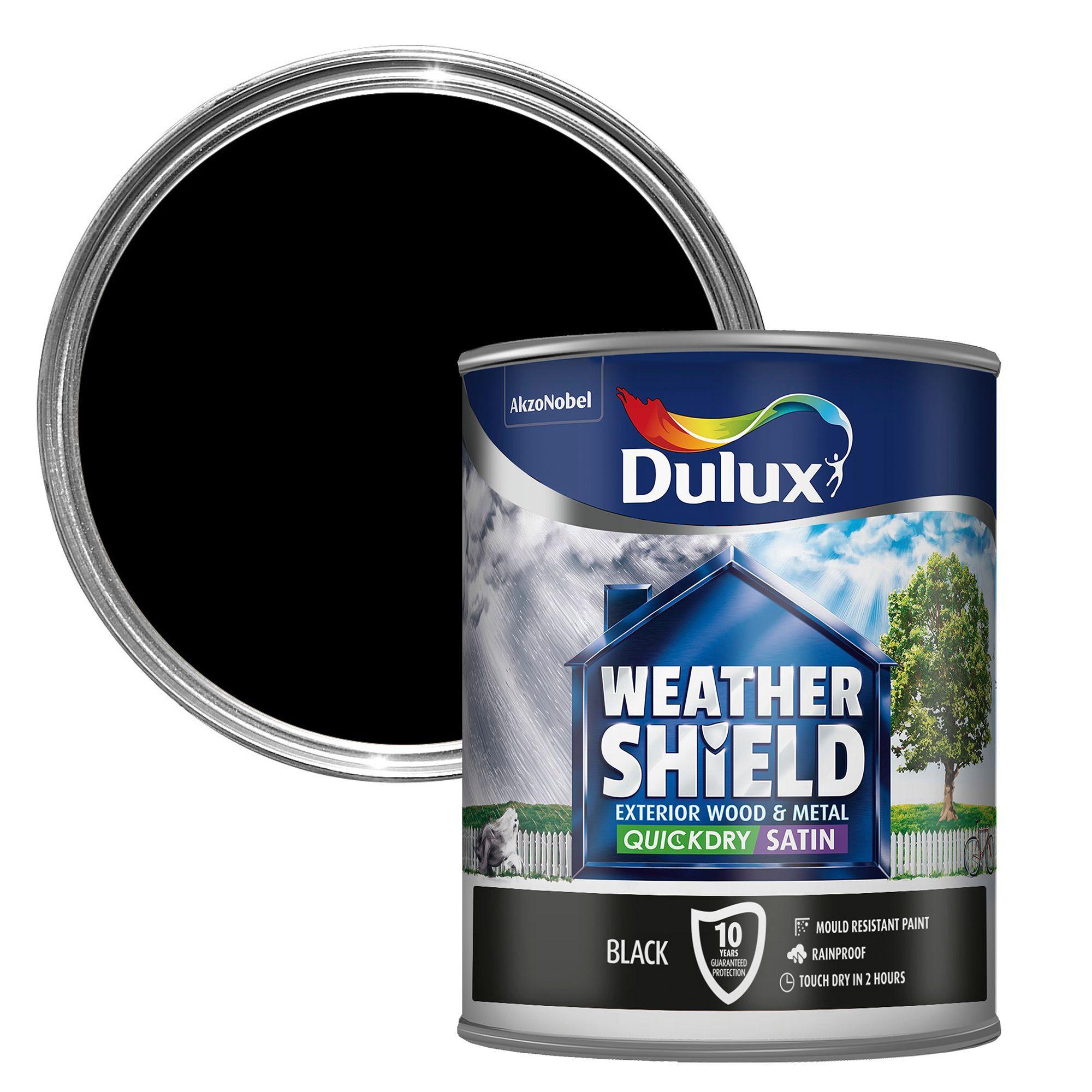 dulux weathershield exterior black satin wood metal paint 750ml departments diy at b q