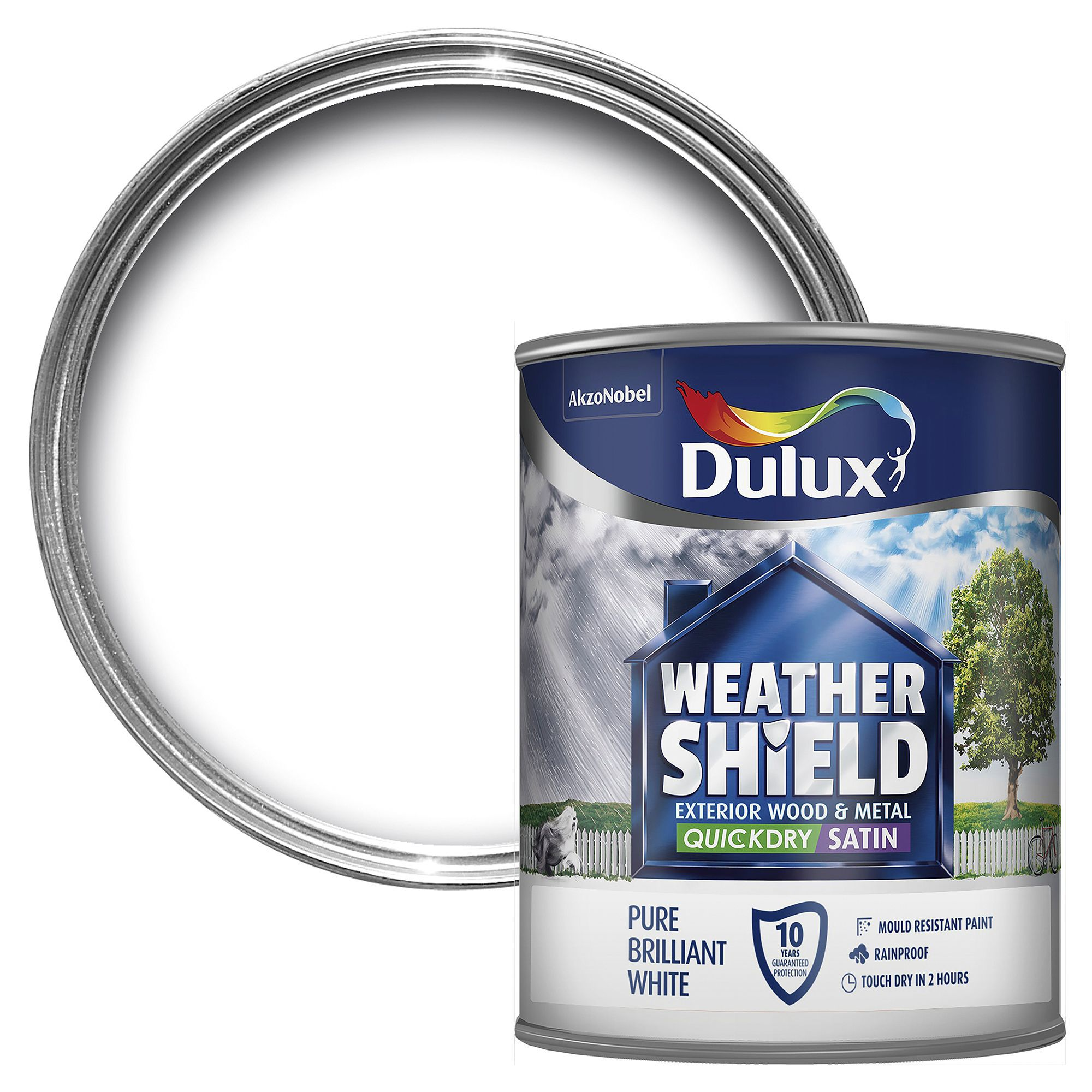 Dulux Weathershield Exterior Pure Brilliant White Satin Wood & Metal Paint 750ml