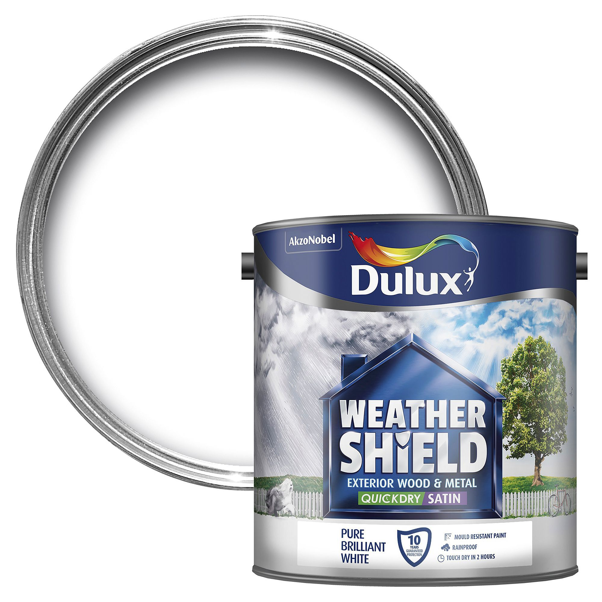 Dulux Weathershield Exterior Pure Brilliant White Satin Wood Metal Paint 2 5l Departments