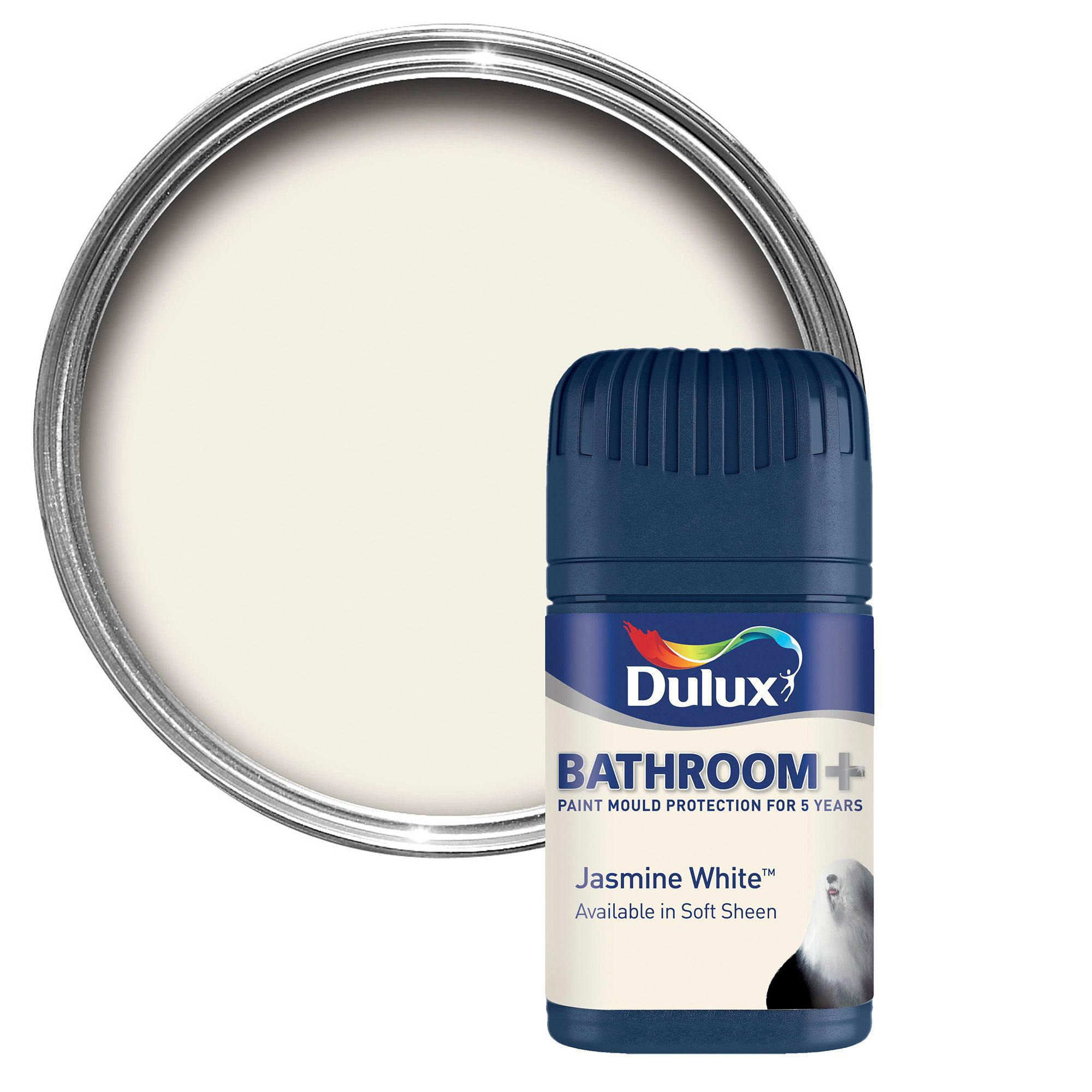 dulux bathroom jasmine white soft sheen emulsion paint 50ml tester pot departments diy at b q. Black Bedroom Furniture Sets. Home Design Ideas