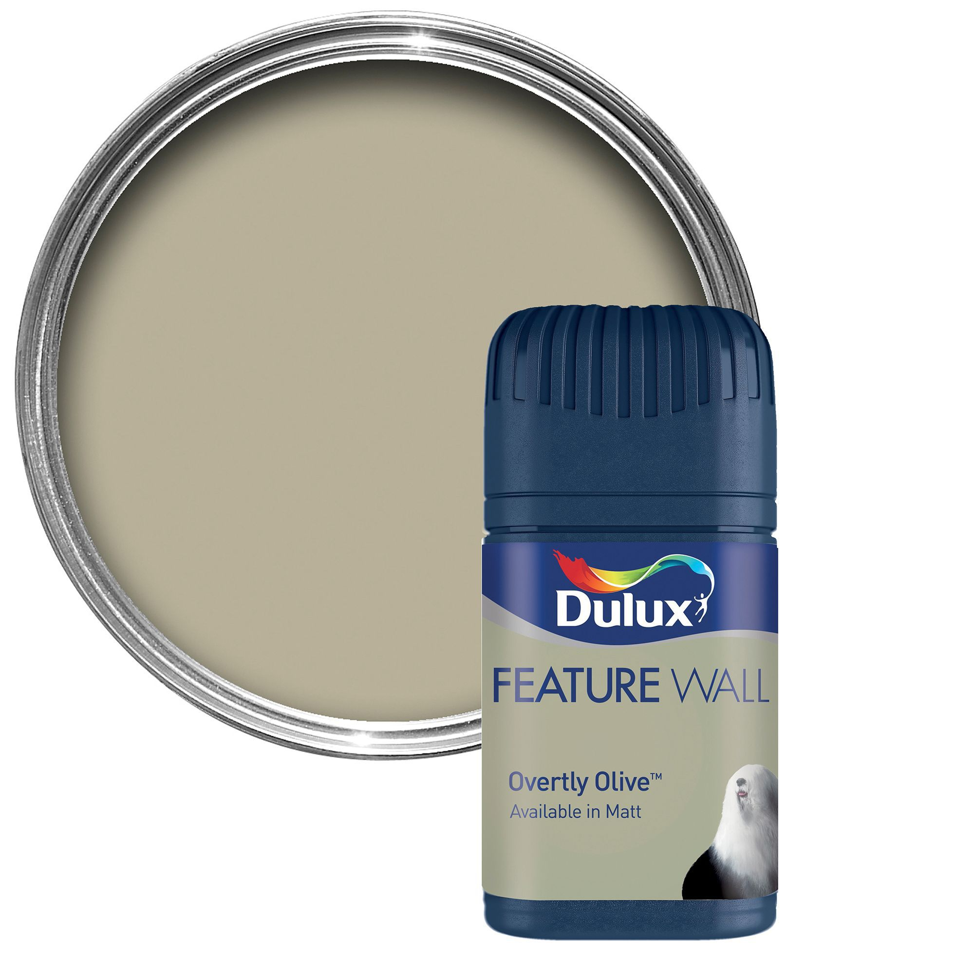 Overtly Olive Kitchen Paint: Dulux Feature Wall Overtly Olive Matt Emulsion Paint 0.05L