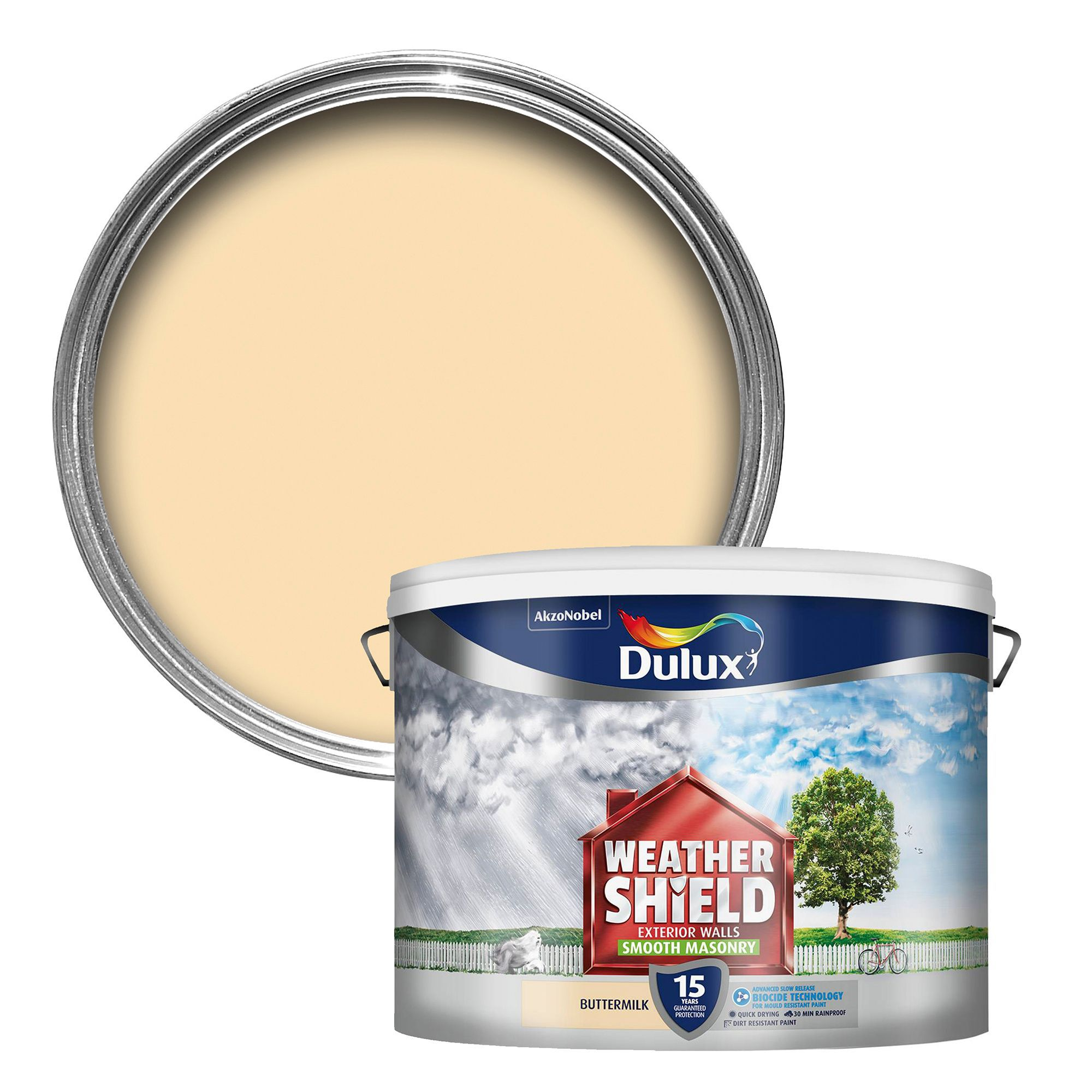 Dulux Weathershield Buttermilk Cream Smooth Masonry Paint