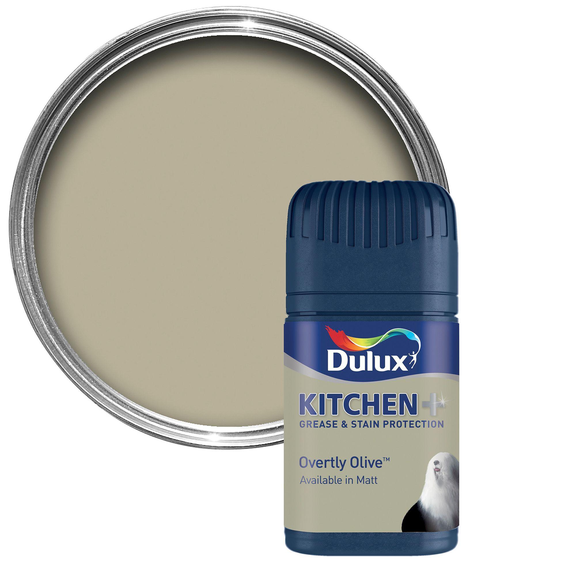 Overtly Olive Kitchen Paint: Dulux Kitchen Overtly Olive Matt Emulsion Paint 0.05L